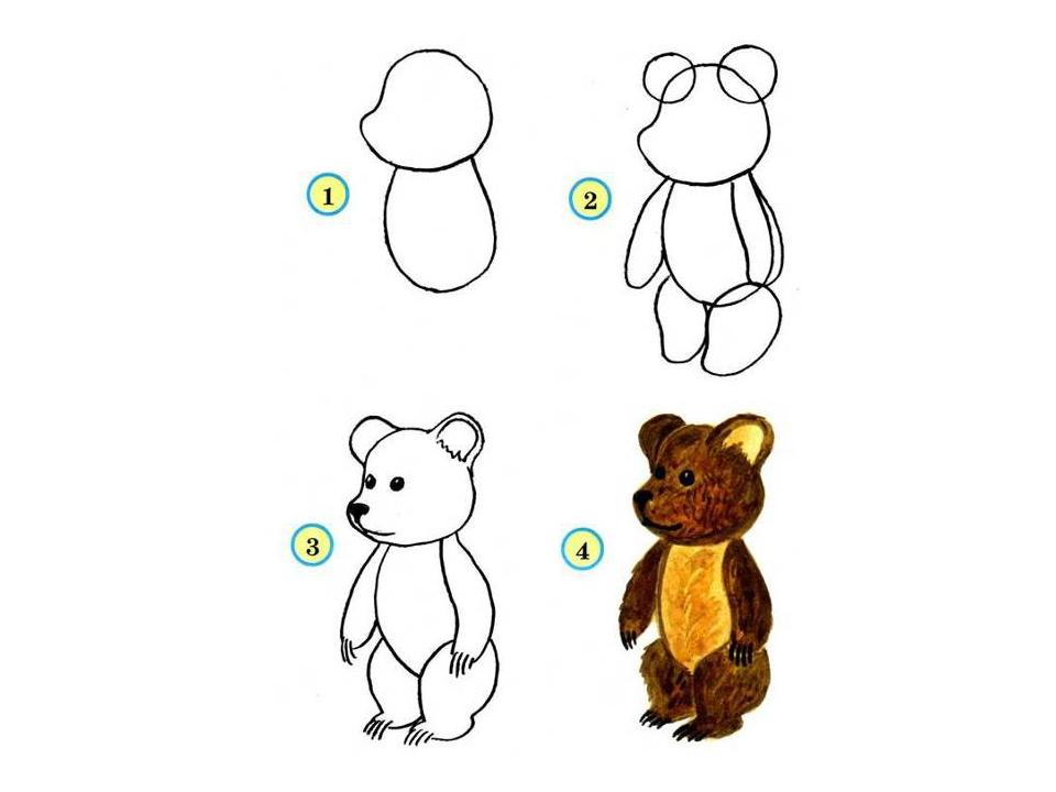 Как рисовать три медведя