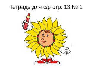 Тетрадь для с/р стр. 13 № 1