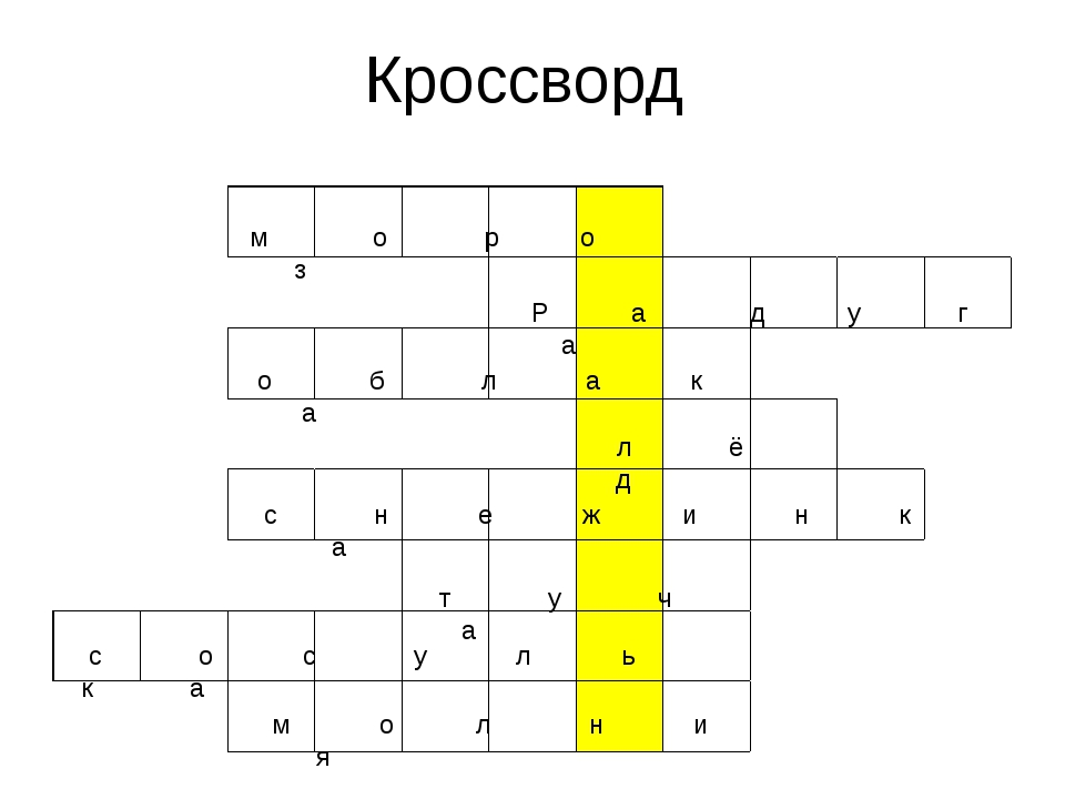 Кроссворд м о р о з Р а д у г а о б л а к а л ё д с н е ж и н к а т у ч а с о...
