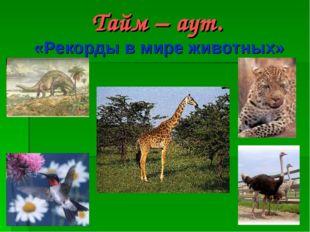 Тайм – аут. «Рекорды в мире животных»