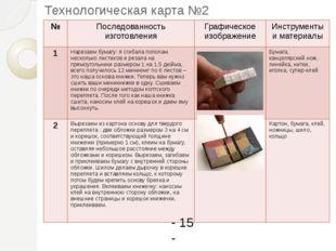 Технологическая карта №2 - 15 - № Последованностьизготовления Графическое изо