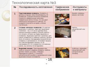 Технологическая карта №3 - 16 - № Последованностьизготовления Графическое изо