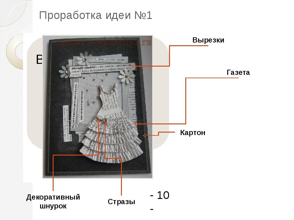 Картон Стразы Вырезки Декоративный шнурок Газета - 10 - Проработка идеи №1