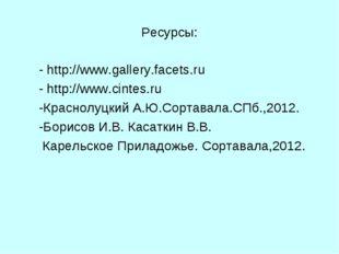 Ресурсы: - http://www.gallery.facets.ru - http://www.cintes.ru -Краснолуцкий