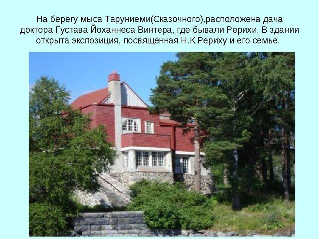 На берегу мыса Таруниеми(Сказочного),расположена дача доктора Густава Йоханне...