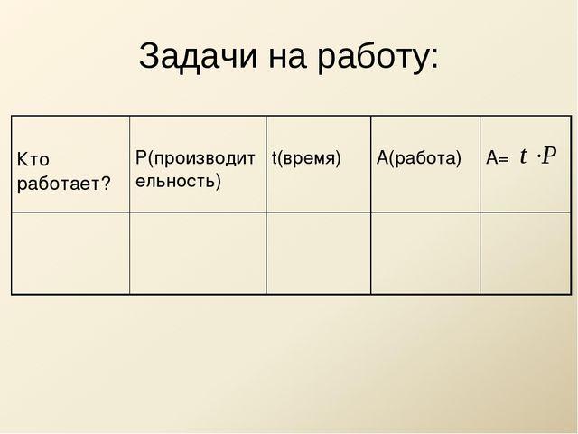 Задачи на работу: Кто работает? Р(производительность) t(время) А(работа)...