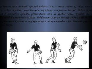 Техника выполнения нижней прямой подачи: И.п. – стоя лицом к сетке, ноги согн
