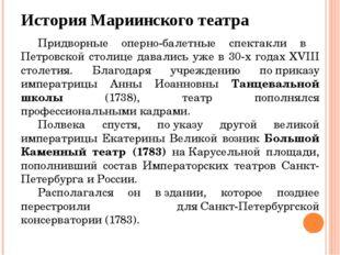 История Мариинского театра Придворные оперно-балетные спектакли в Петровской