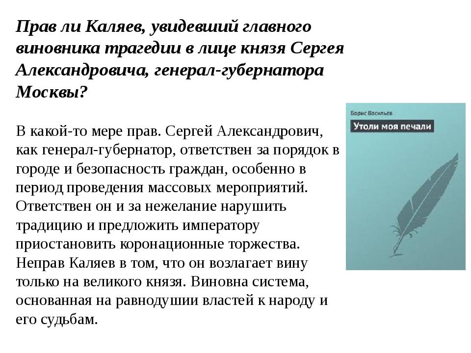 Прав ли Каляев, увидевший главного виновника трагедии в лице князя Сергея Але...
