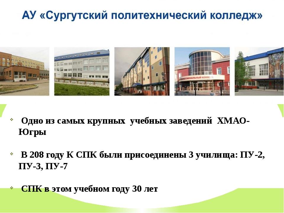 Одно из самых крупных учебных заведений ХМАО- Югры В 208 году К СПК были при...