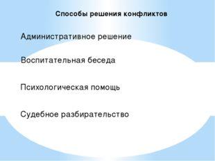 Способы решения конфликтов Административное решение Воспитательная беседа Пси