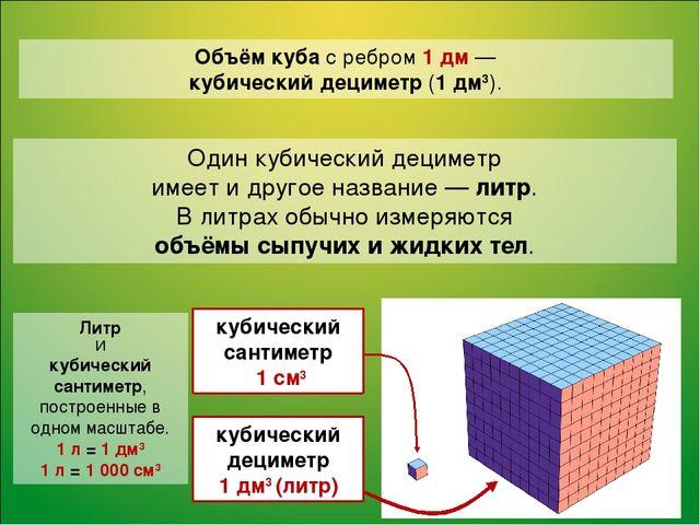 Объём куба с ребром 1 дм — кубический дециметр (1 дм3). Один кубический децим...