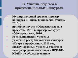 13. Участие педагога в профессиональных конкурсах Муниципальный уровень: приз