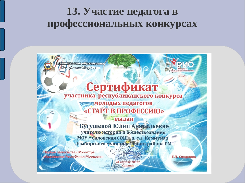 13. Участие педагога в профессиональных конкурсах