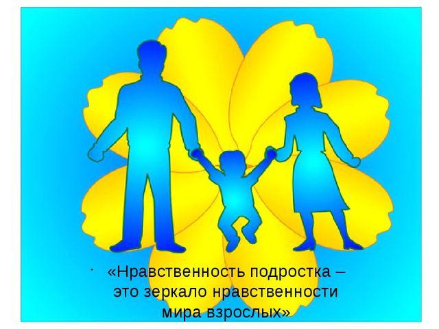«Нравственность подростка – это зеркало нравственности мира взрослых» User:...