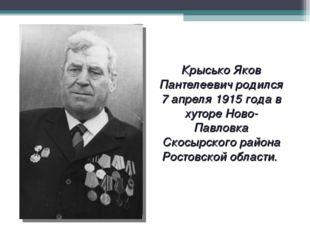 Крысько Яков Пантелеевич родился 7 апреля 1915 года в хуторе Ново-Павловка Ск