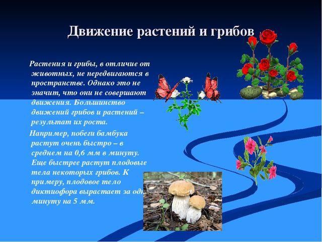 Движение растений и грибов Растения и грибы, в отличие от животных, не передв...