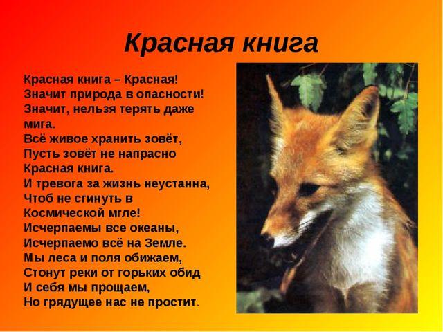 Красная книга Красная книга – Красная! Значит природа в опасности! Значит, не...