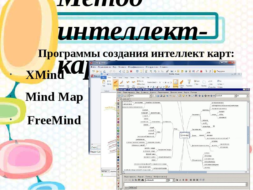 Метод интеллект-карт Программы создания интеллект карт: XMind Mind Map FreeMind