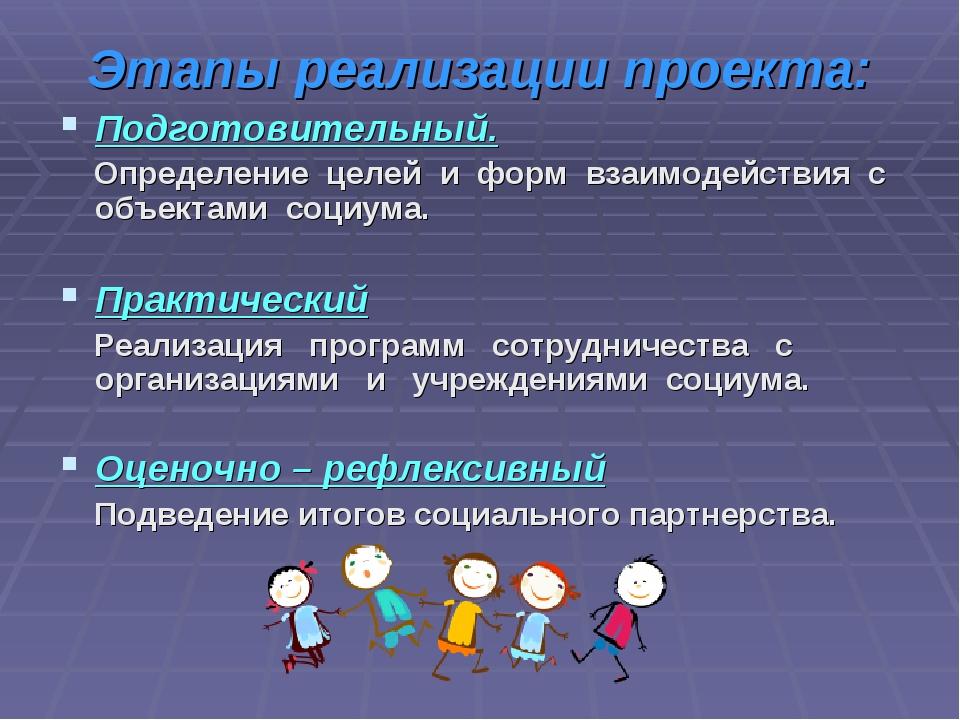 Этапы реализации проекта: Подготовительный. Определение целей и форм взаимоде...