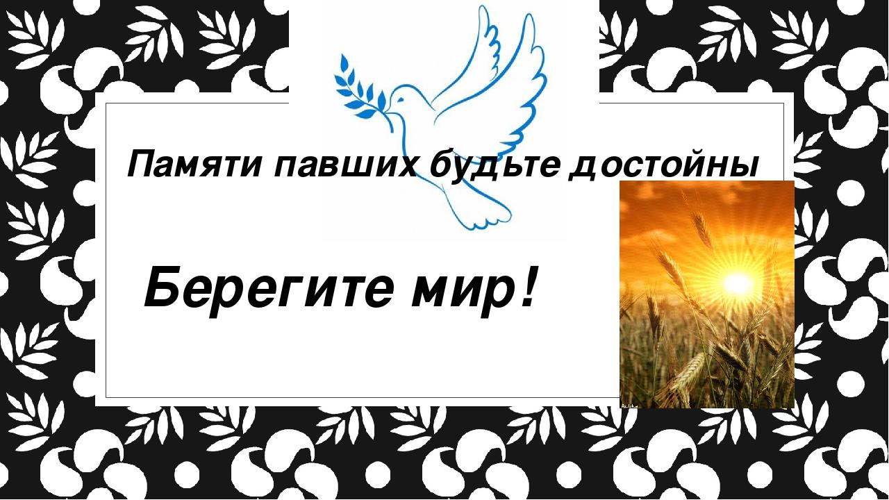 Памяти павших будьте достойны Берегите мир!