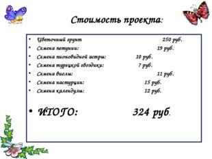 Стоимость проекта: Цветочный грунт  250 руб. Семена петунии: 19 руб.