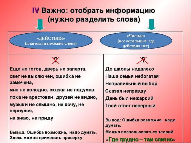 IV Важно: отобрать информацию (нужно разделить слова) «ДЕЙСТВИЯ» (глаголы и п...