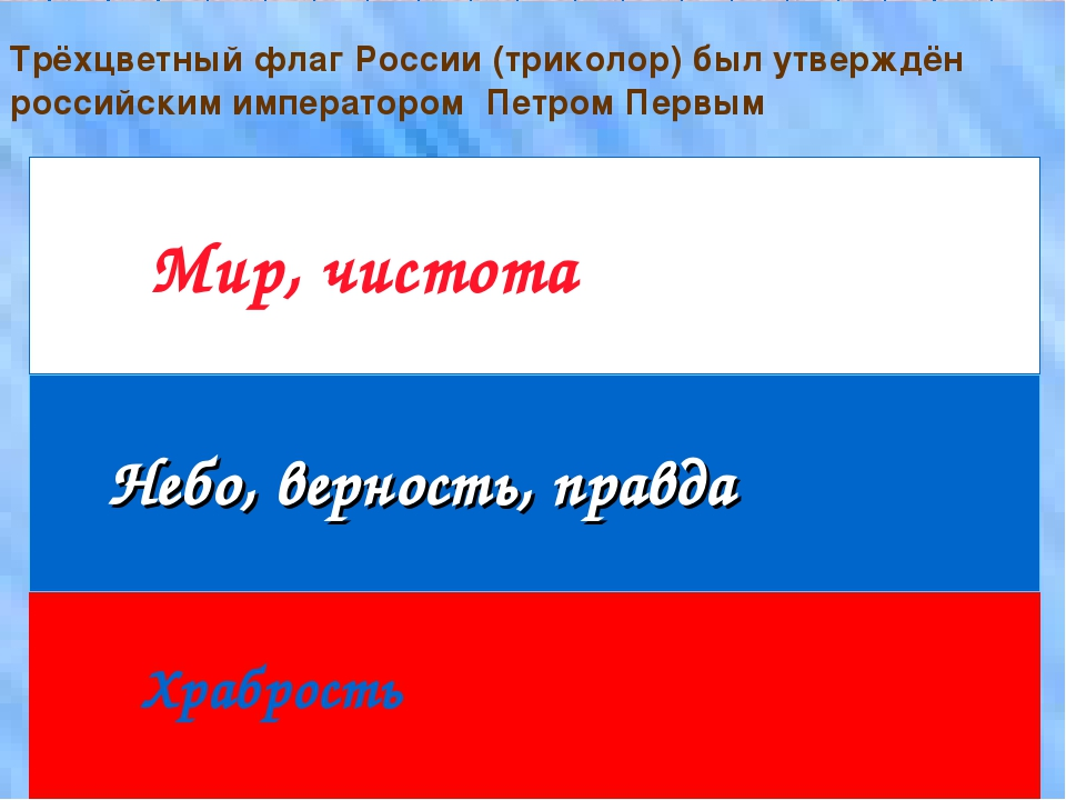 Мир, чистота Небо, верность, правда Храбрость Трёхцветный флаг России (трикол...