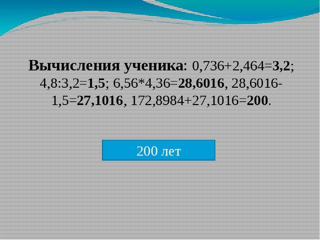 Вычисления ученика: 0,736+2,464=3,2; 4,8:3,2=1,5; 6,56*4,36=28,6016, 28,6016-...