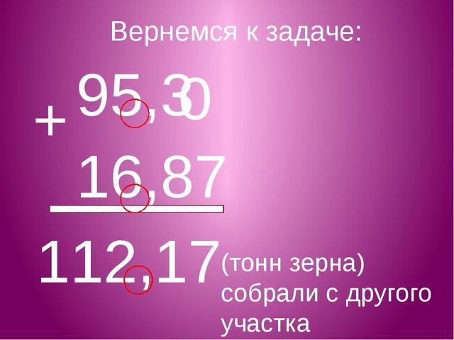 Вернемся к задаче: 95,3 16,87 0 + 112,17 (тонн зерна) собрали с другого участка