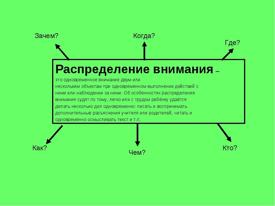 Распределение внимания – это одновременное внимание двум или нескольким объек...