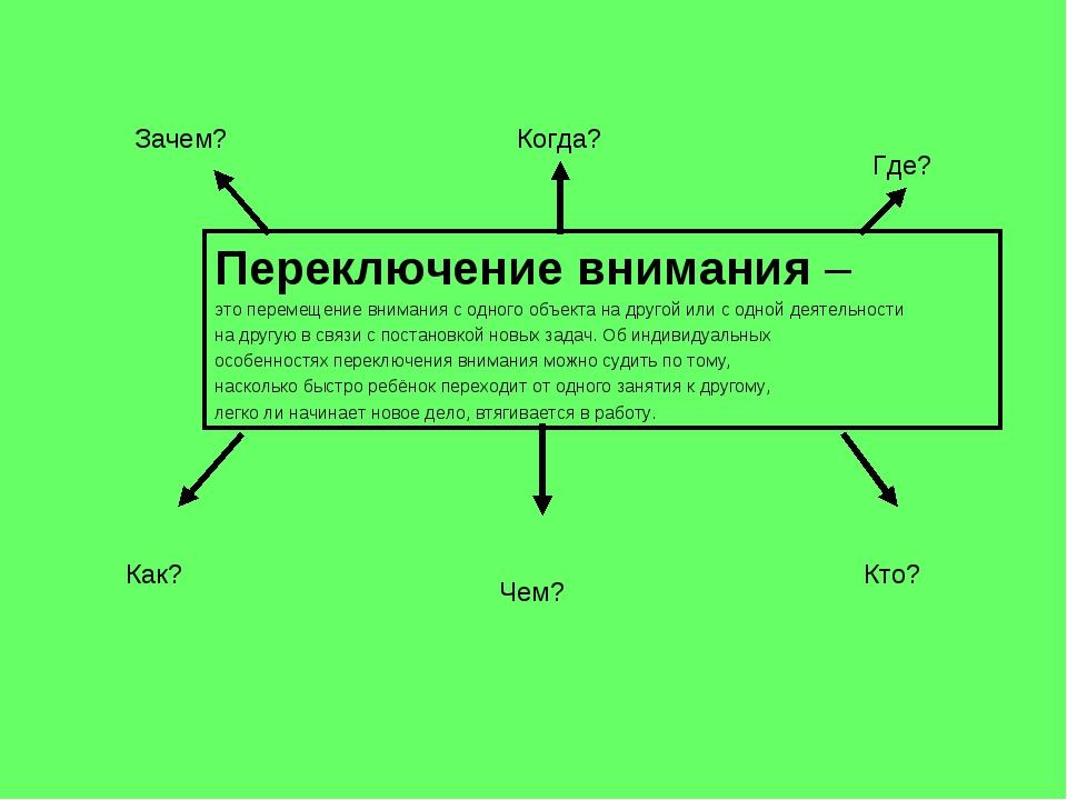 Переключение внимания – это перемещение внимания с одного объекта на другой и...
