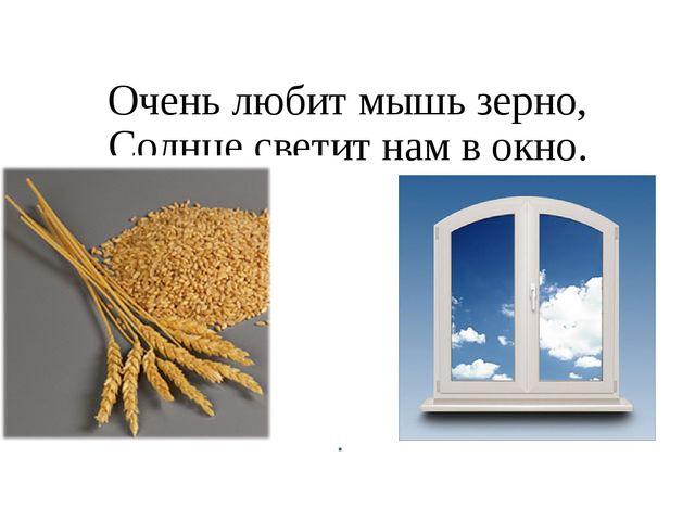 Очень любит мышь зерно, Солнце светит нам в окно.