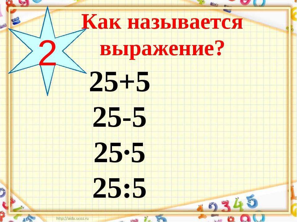 25+5 25-5 25·5 25:5 Как называется выражение? 2