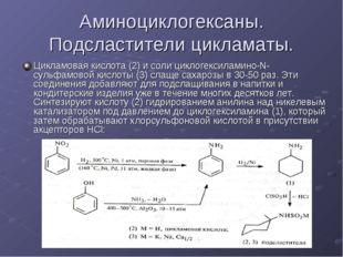 Аминоциклогексаны. Подсластители цикламаты. Цикламовая кислота (2) и соли цик