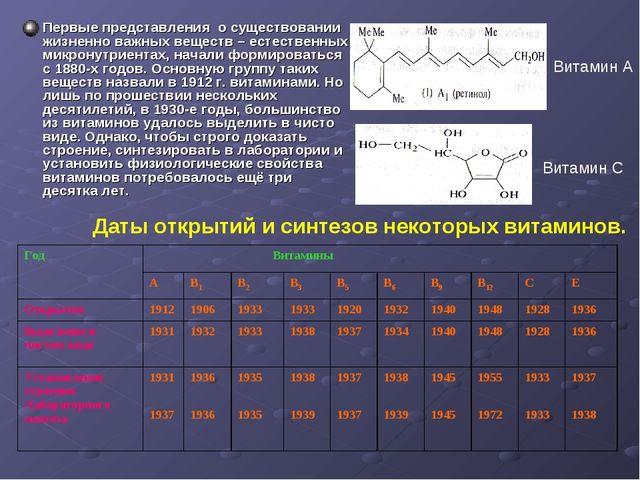 Первые представления о существовании жизненно важных веществ – естественных м...