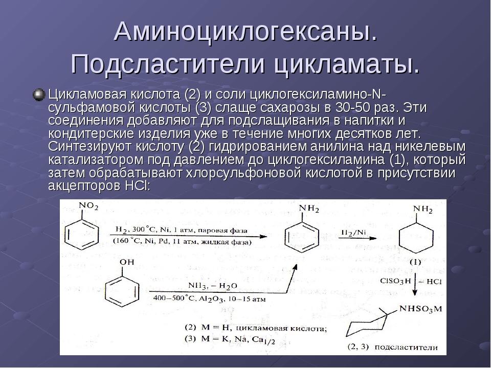 Аминоциклогексаны. Подсластители цикламаты. Цикламовая кислота (2) и соли цик...