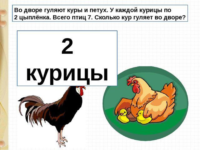 Во дворе гуляют куры и петух. У каждой курицы по 2 цыплёнка. Всего птиц 7. Ск...