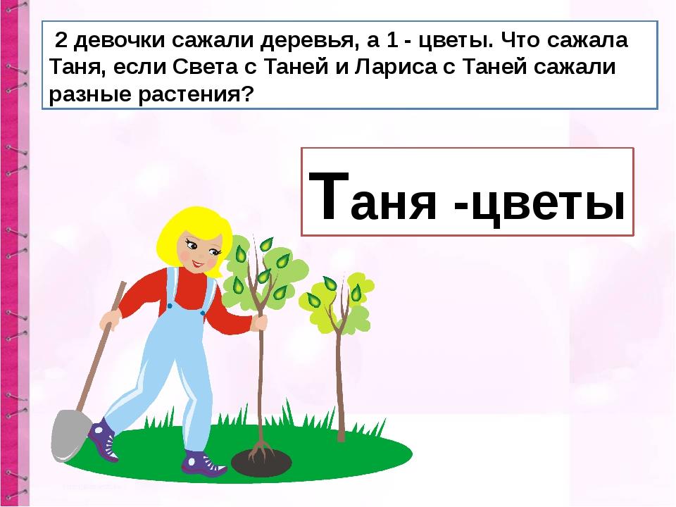 2 девочки сажали деревья, а 1 - цветы. Что сажала Таня, если Света с Таней и...