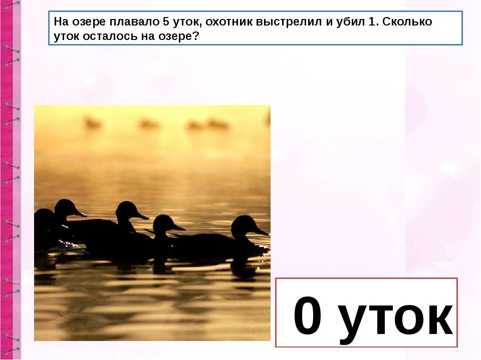 На озере плавало 5 уток, охотник выстрелил и убил 1. Сколько уток осталось на...