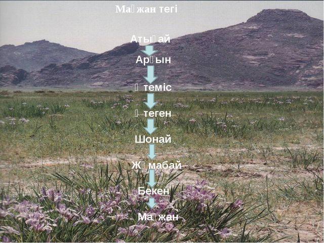 Мағжан тегі Атығай Арғын Өтеміс Өтеген Шонай Жұмабай Бекен Мағжан