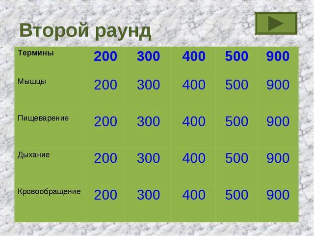 Второй раунд Термины200300400500900 Мышцы200300 400500 900 Пищеваре...
