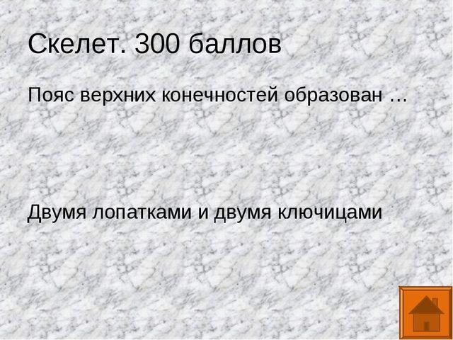 Скелет. 300 баллов Пояс верхних конечностей образован … Двумя лопатками и дву...