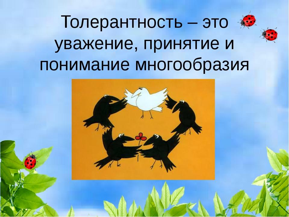 Толерантность – это уважение, принятие и понимание многообразия мира