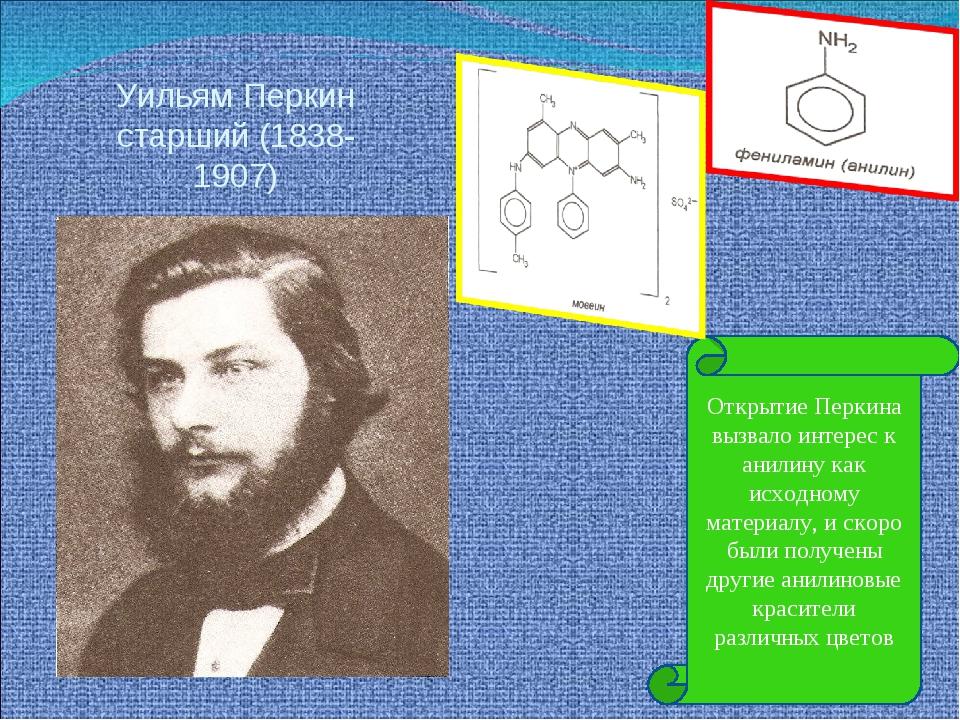 Уильям Перкин старший (1838-1907) Открытие Перкина вызвало интерес к анилину...