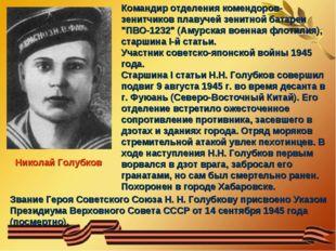 Николай Голубков Командир отделения комендоров-зенитчиков плавучей зенитной б