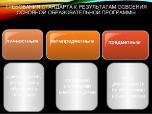ТРЕБОВАНИЯ СТАНДАРТА К РЕЗУЛЬТАТАМ ОСВОЕНИЯ ОСНОВНОЙ ОБРАЗОВАТЕЛЬНОЙ ПРОГРАММ