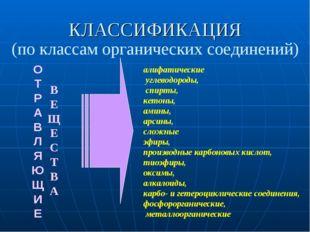 КЛАССИФИКАЦИЯ (по классам органических соединений) О Т Р А В Л Я Ю Щ И Е В Е