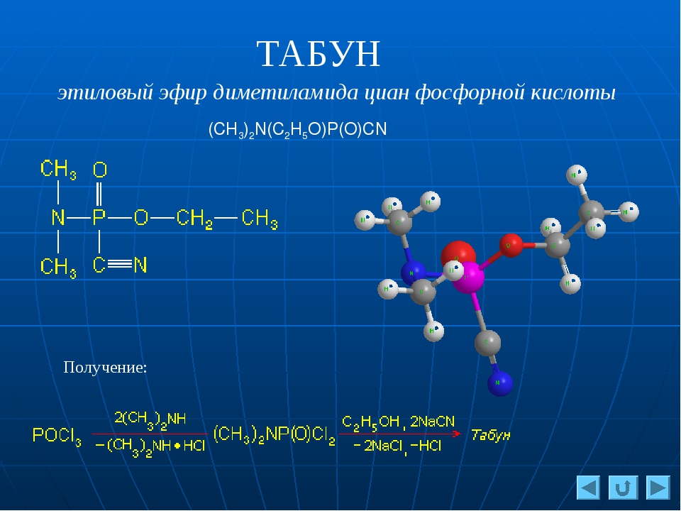 ТАБУН этиловый эфир диметиламида циан фосфорной кислоты (CH3)2N(C2H5O)P(О)CN...