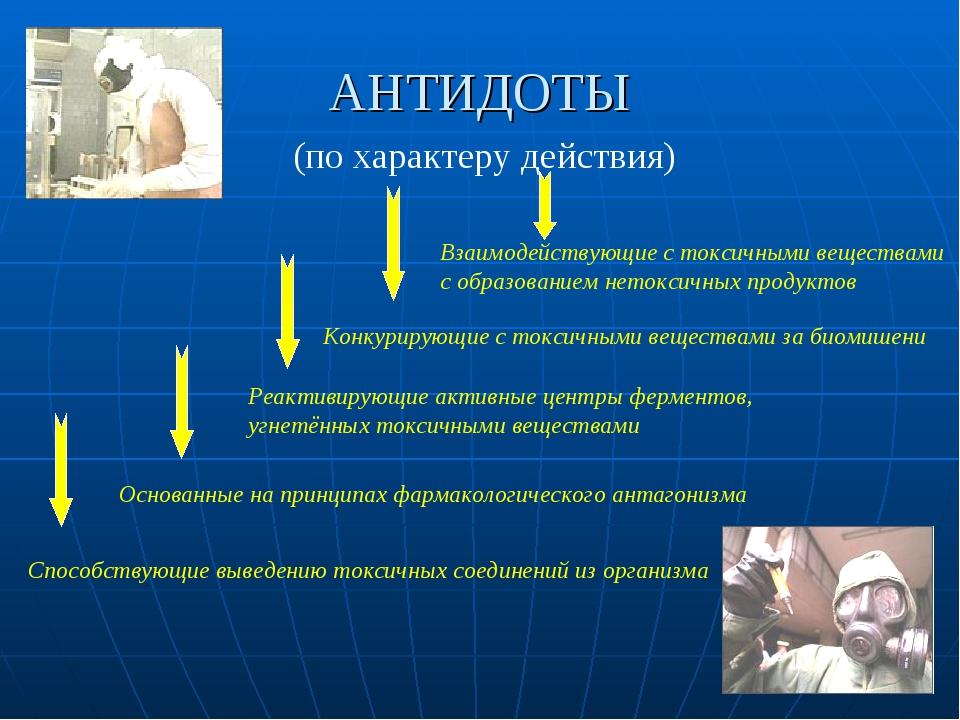 АНТИДОТЫ (по характеру действия) Взаимодействующие с токсичными веществами с...